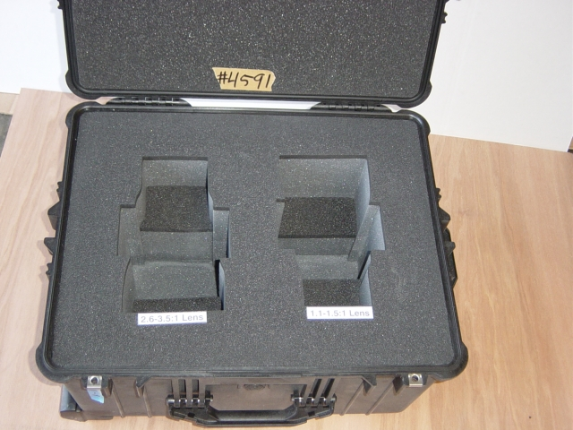 Print # 4591 - Foam Cut-Out for 2.6 - 3.5:1 and 1.1-1.5:1 Lens. Pelican Case insert By Nelson Case Corp
