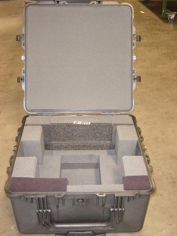 Print # 4899 - Pelican Case 1640 with custom foam for Sony DVCAM DSR-1800A and Accessories on Bottom  By Nelson Case Corp