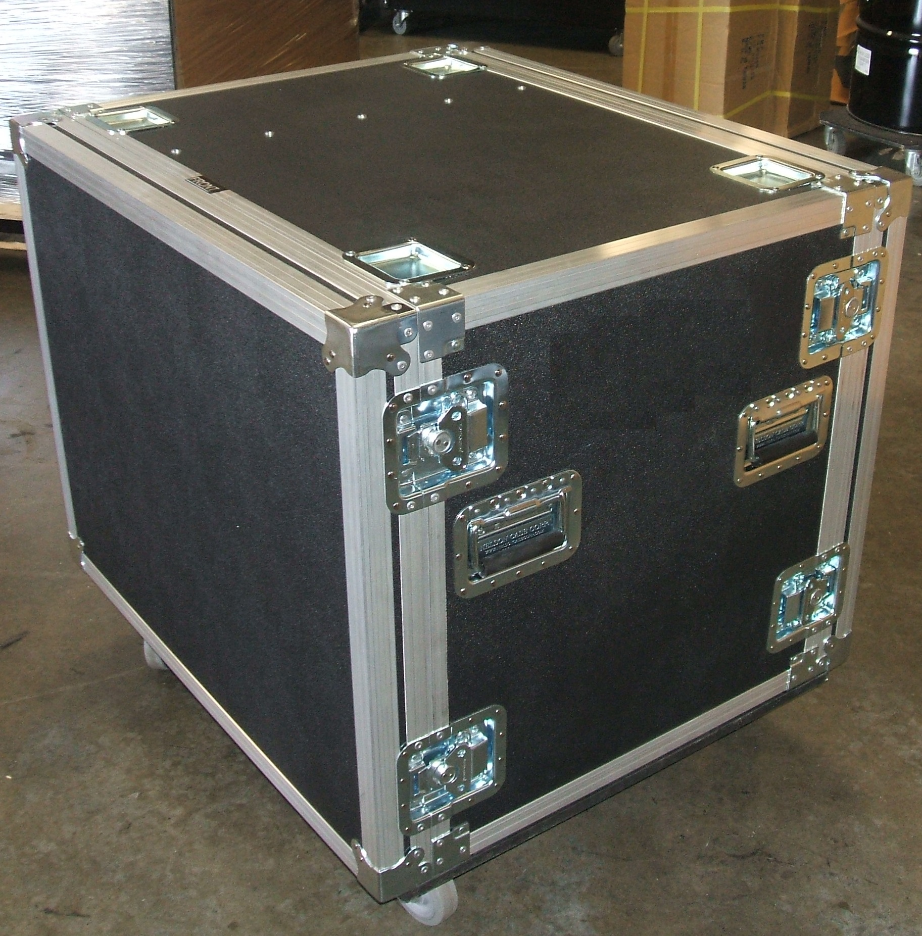 Print # 5676 - Custom 12RU Shock Rack which includes side compartment for (1) Dell XPS 8500 Computer Which Includes Heavy Duty Hardware, Heavy Duty Double Angle Aluminum Extrusion, Front and Rear pop Off Lids, 4 Inch Casters, 3/8 Black ABS By Nelson Case Corp