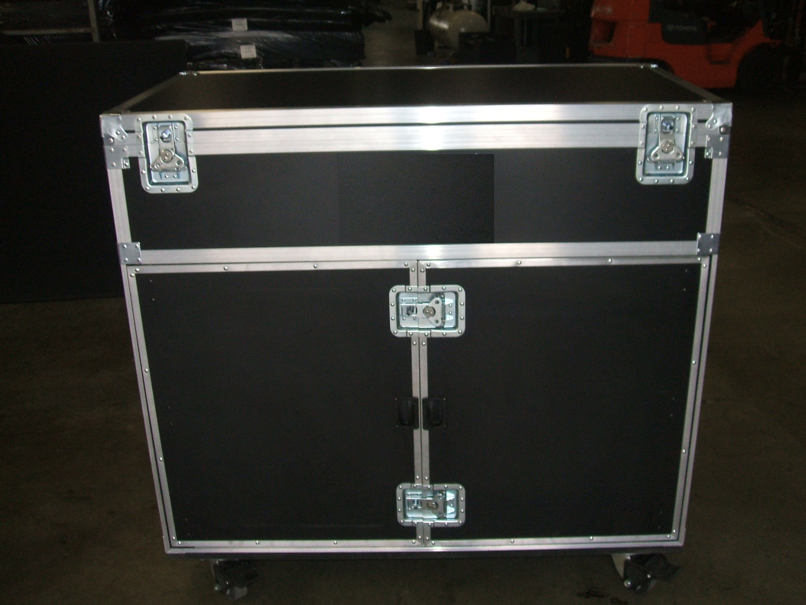 Print # 5780 - Custom Trunk Case with (3) Drawers,truck compartment, hinged top lid, removable front lid, heavy duty pad locking Hasp on all twist catches By Nelson Case Corp