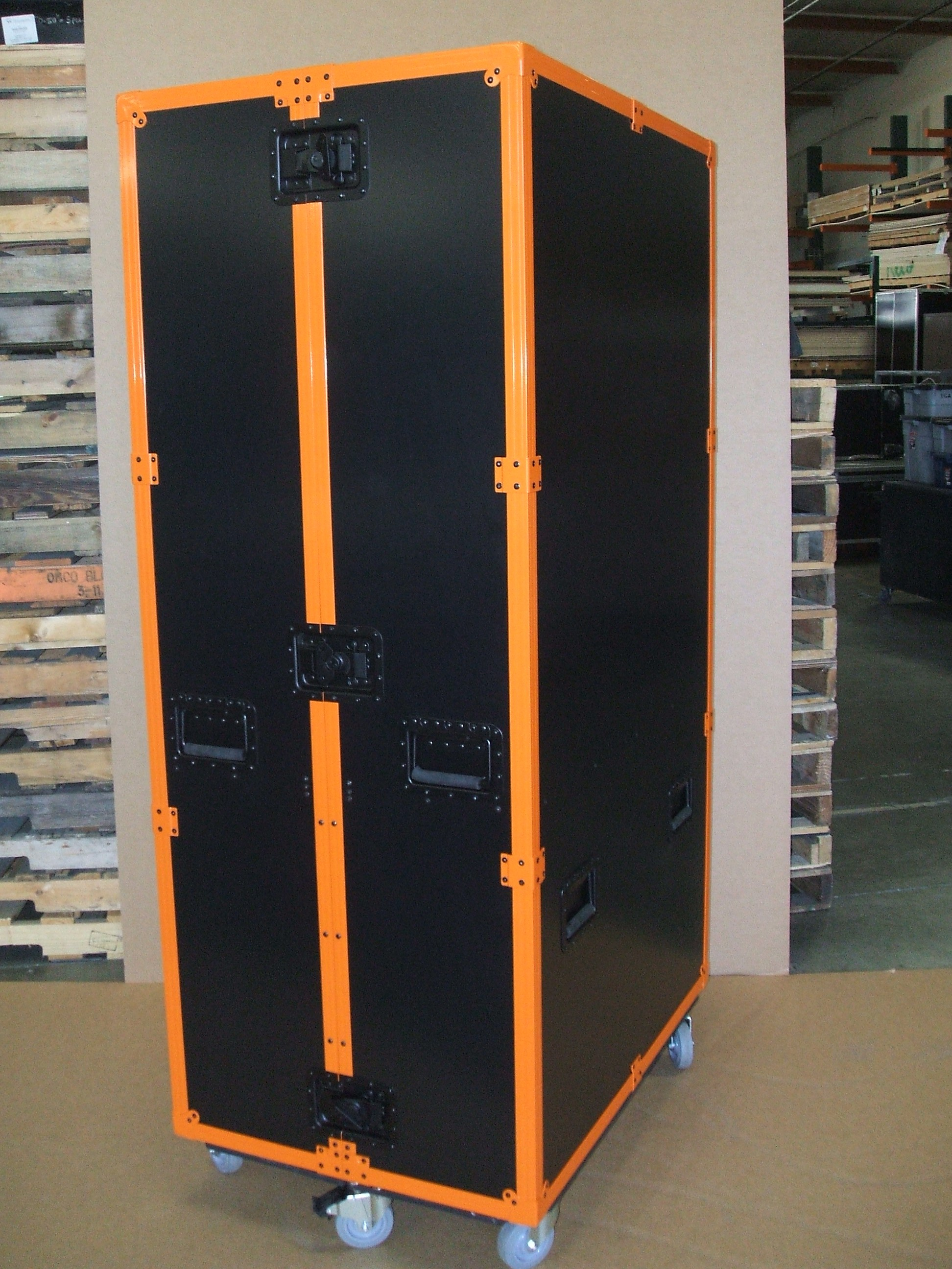 Print # 5912 - Custom Trade Show Shipping Case with Plexiglass display and Orange Powder Coated Hardware  By Nelson Case Corp