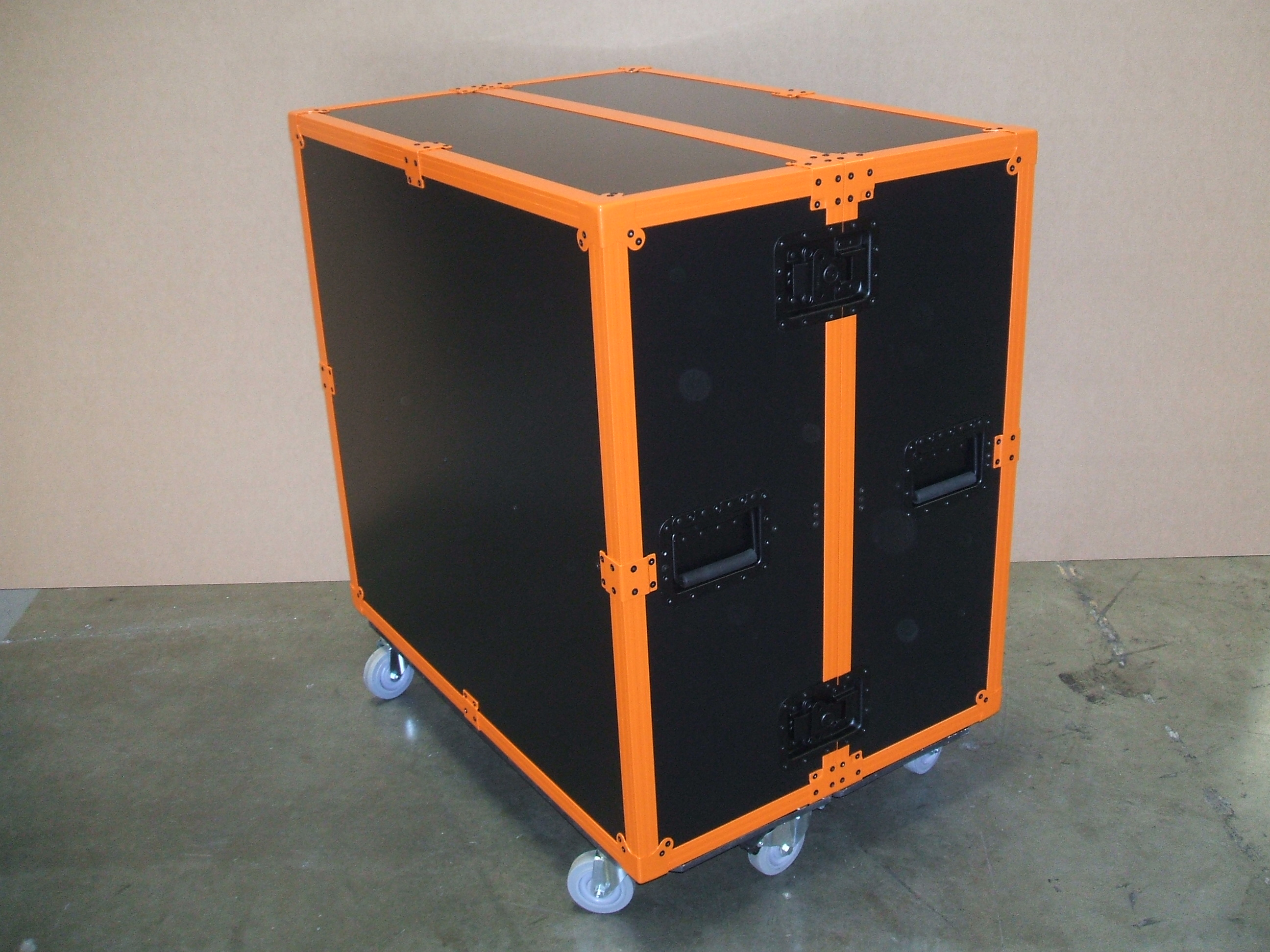 Print # 5913 - Custom Trade Show Shipping/Storage Case with Orange Powder Coated Hardware  By Nelson Case Corp