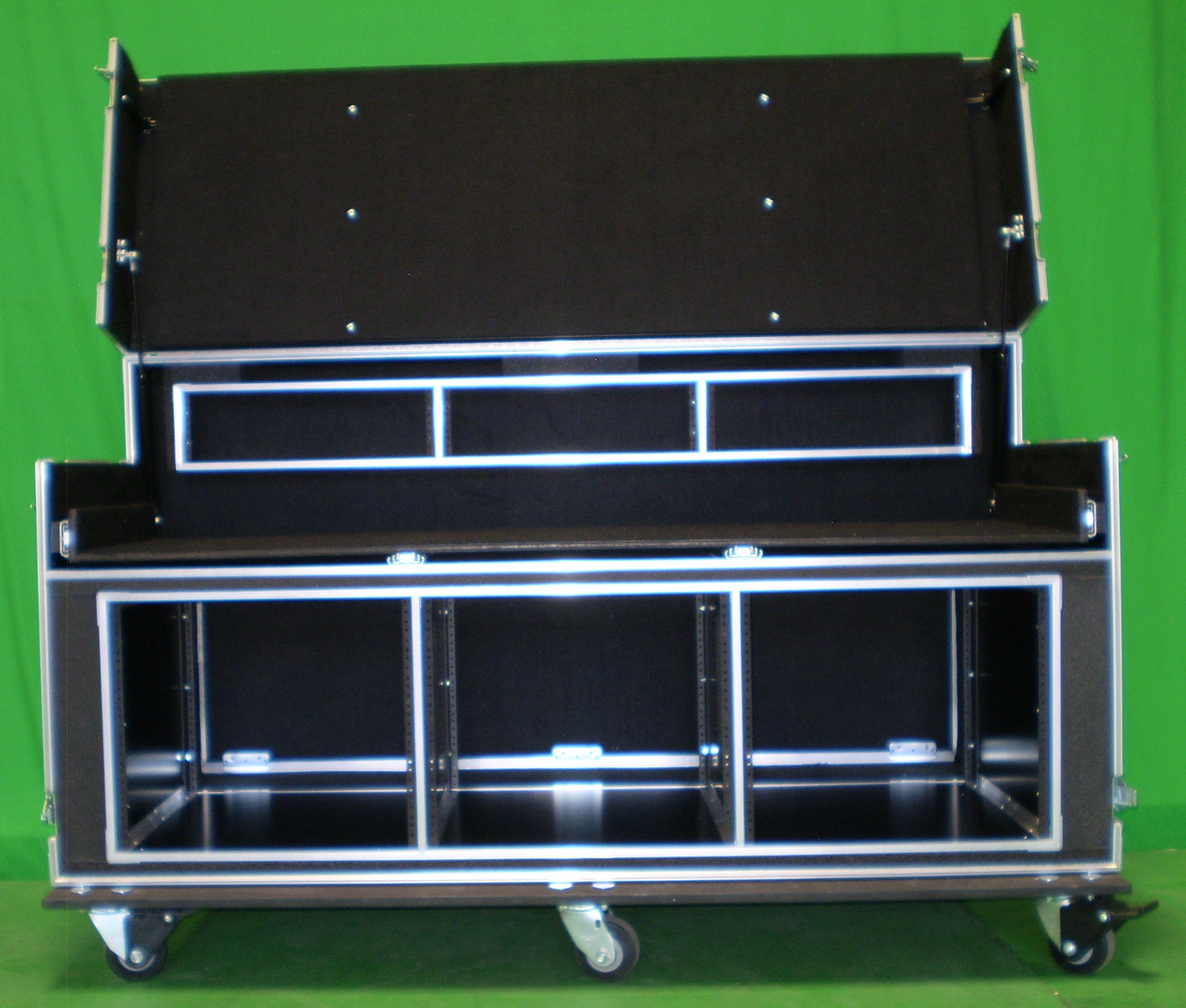 Print # 6189 - Custom Mobile 9-RU Triple-Wide Rack-Mount Video Workstation with 3-RU Top Rack Shells By Nelson Case Corp