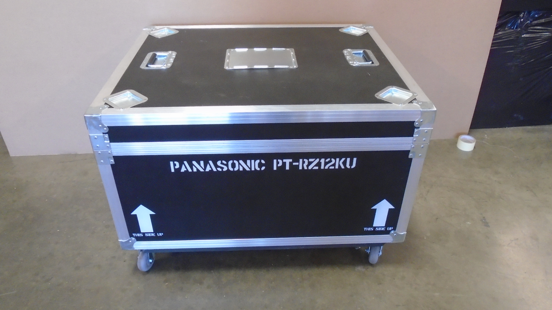 Print # 7657 - Custom Road Case for Panasonic PT-RZ770 with 4-Pack Lens Compartments By Nelson Case Corp