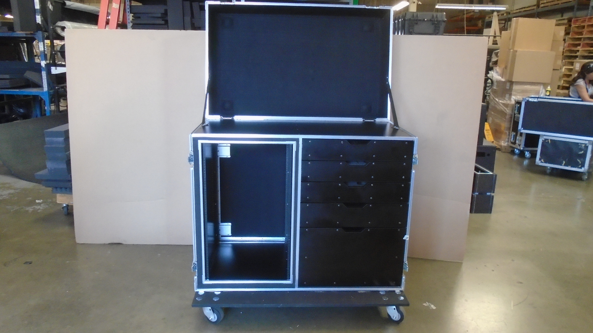 Print # 7729 - Custom Heavy Duty Double Wide 18-RU Rack Mount and 5 Drawer Work Box Combo Road Case By Nelson Case Corp